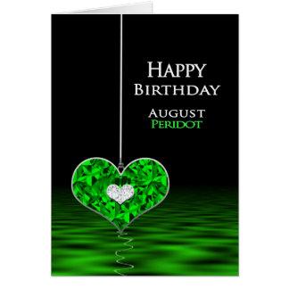 Cartão Aniversário - Birthstone - agosto - Peridot