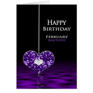 Cartão Aniversário - Birthstone - fevereiro - ametista