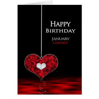 Cartão Aniversário - Birthstone - janeiro -