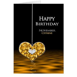 Cartão Aniversário - Birthstone - novembro - Citrine