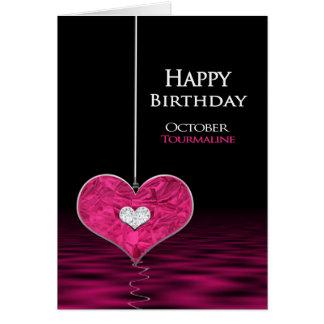 Cartão Aniversário - Birthstone - outubro - turmalina