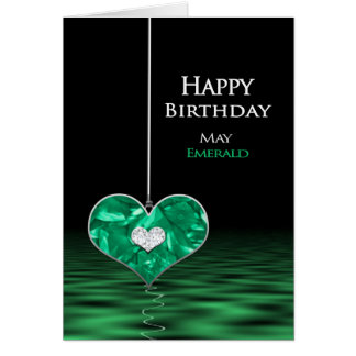 Cartão Aniversário - Birthstone - possa - esmeralda