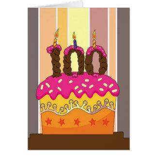 Cartão aniversário - bolo com vela 100 - 100th