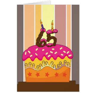 Cartão aniversário - bolo com velas 65 - 65th aniversário