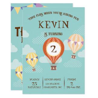 Cartão Aniversário bonito customizável do balão de ar