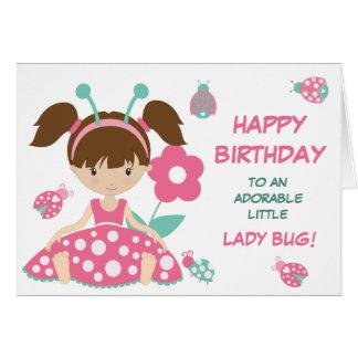 Cartão Aniversário bonito da menina do joaninha