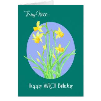 Cartão Aniversário bonito de março dos Daffodils para a