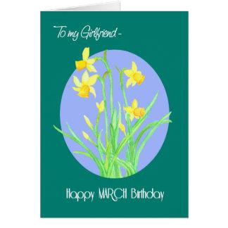 Cartão Aniversário bonito de março dos Daffodils para o