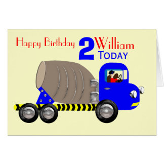 Cartão Aniversário bonito do caminhão do misturador de