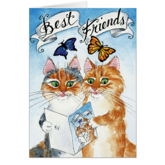 Cartão Aniversário bonito do melhor amigo do gato ou