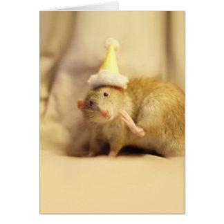 Cartão Aniversário bonito do rato do chapéu do partido