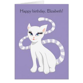 Cartão Aniversário branco bonito conhecido feito sob