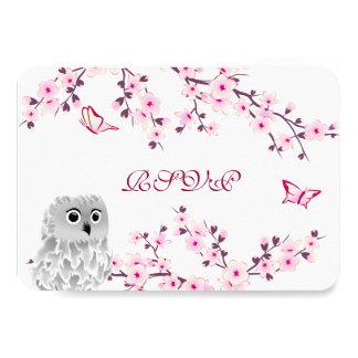 Cartão Aniversário branco cor-de-rosa RSVP das flores de