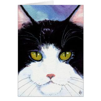 Cartão Aniversário branco do preto bonito do gato ou