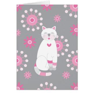 Cartão Aniversário branco lunático do gato