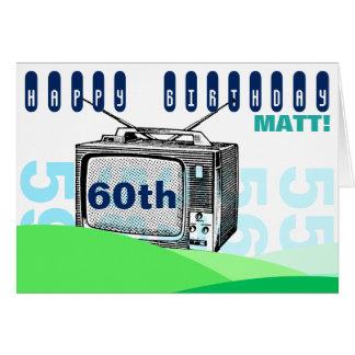 Cartão Aniversário C de cumprimento da tevê 60th da