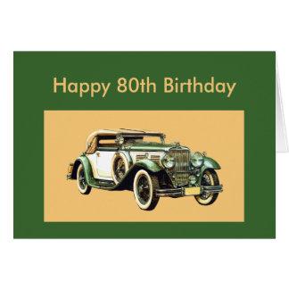 Cartão Aniversário clássico do 80 do carro vintage