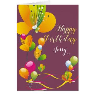 Cartão Aniversário colorido das flores e dos balões