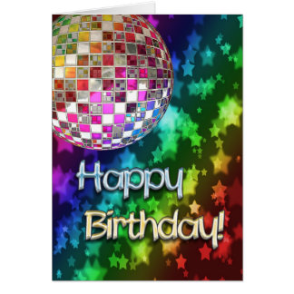 Cartão Aniversário com bola do disco e arco-íris das