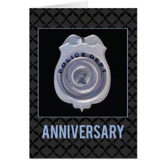 Cartão Aniversário com departamento da polícia, crachá