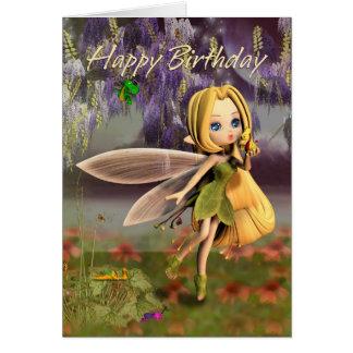 Cartão Aniversário com fada e dragões