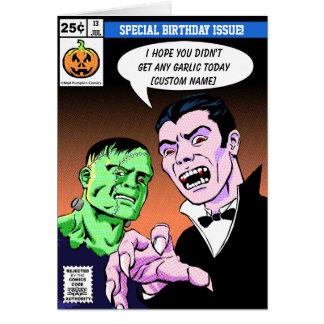 Cartão Aniversário cómico do estilo do horror
