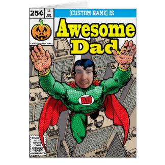 Cartão Aniversário cómico do super-herói customizável