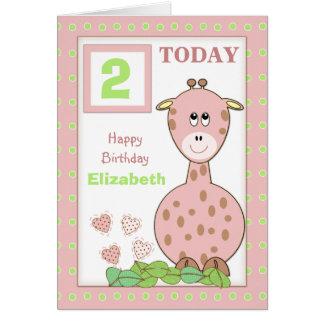Cartão Aniversário conhecido personalizado da menina da