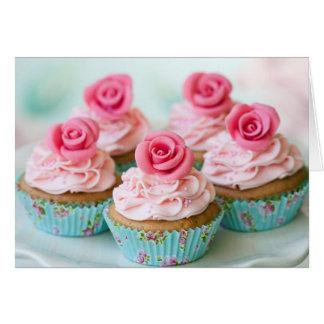 Cartão Aniversário cor-de-rosa, bolos Wedding do copo