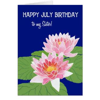 Cartão Aniversário cor-de-rosa bonito de julho dos lírios