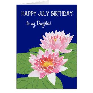 Cartão Aniversário cor-de-rosa de julho dos lírios de