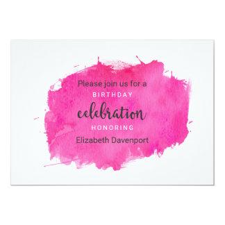 Cartão Aniversário cor-de-rosa Inivtation do Splatter da