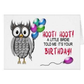 Cartão Aniversário - coruja cinzenta com balões - buzina,
