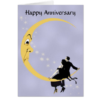 Cartão Aniversário crescente do casal das estrelas da