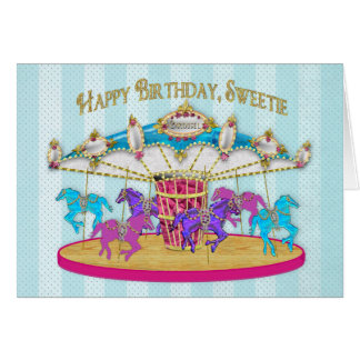 Cartão Aniversário - criança - carrossel - divertimento