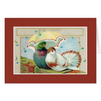 Cartão Aniversário cumprimentos, dois pássaros com