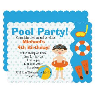 Cartão Aniversário customizável da festa na piscina do