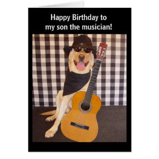Cartão Aniversário customizável do filho do músico
