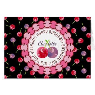 Cartão Aniversário da aguarela da cereja