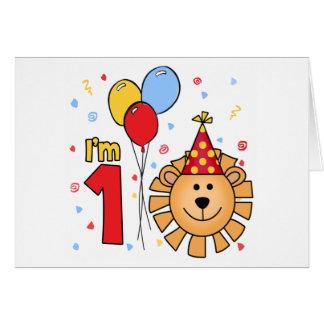 Cartão Aniversário da cara do leão primeiro