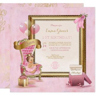 Cartão Aniversário da coroa da princesa Cor-de-rosa