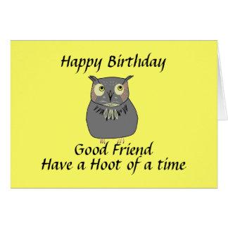 Cartão Aniversário da coruja de Hooty do melhor amigo
