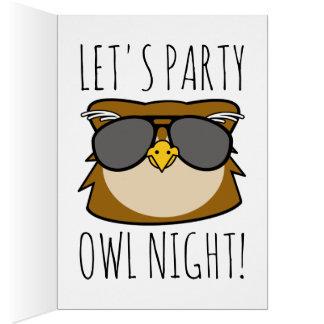 Cartão Aniversário da coruja do partido