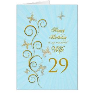 Cartão Aniversário da esposa 29o com borboletas douradas