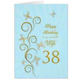 Cartão Aniversário da esposa 38th com borboletas douradas