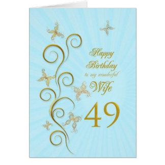 Cartão Aniversário da esposa 49th com borboletas douradas