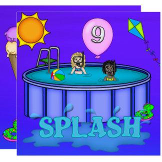 """Cartão Aniversário da festa na piscina do """"respingo"""" 9o"""
