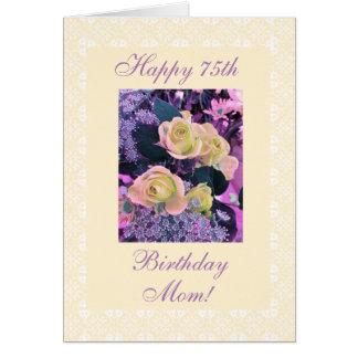 Cartão Aniversário da mãe o 75th floresce o freesia