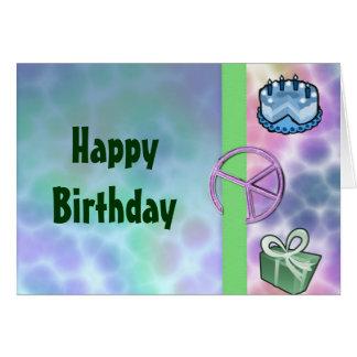 Cartão Aniversário da paz da tintura do laço