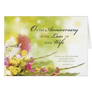 Cartão Aniversário da perda de esposa, morte, flores